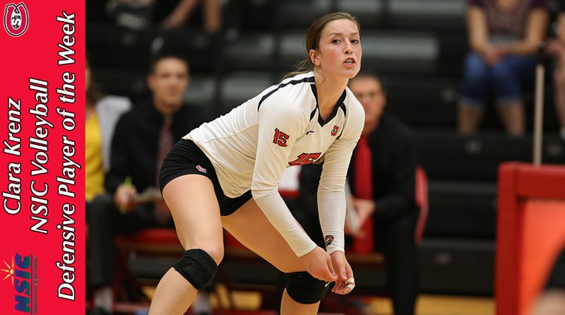 Volleyball S Clara Krenz Named Nsic Defensive Player Of The Week St Cloud State University Athletics